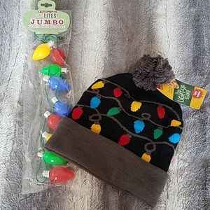 Light-up Beanie and Necklace NWT